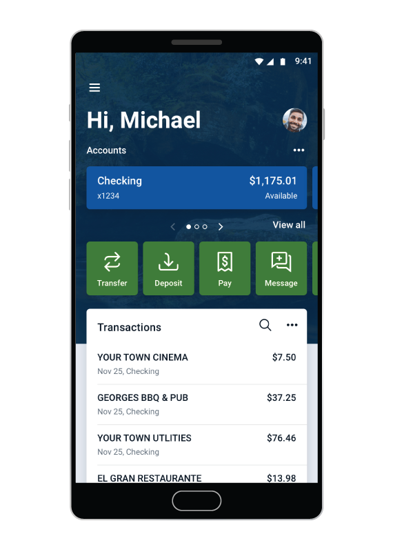 Mobile Banking app on phone.